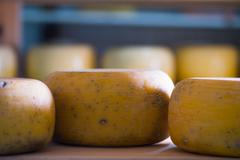 Cheese refining on shelves - stock photo