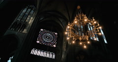Hanging light in church - France Clermont-Ferrand Cathedral Stock Footage