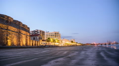 Evening hours close to Larnaca Castle, Cyprus Stock Footage