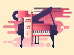 Piano design flat Stock Illustration