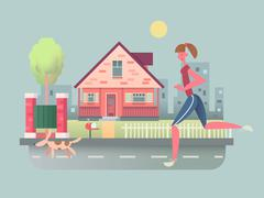 Stock Illustration of Woman run with dog on street
