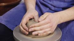 Master potter makes pottery, handmade Stock Footage
