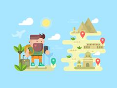 Travel traveler concept design flat - stock illustration