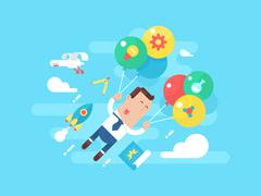 Business man fly with balloons. Concept startup - stock illustration