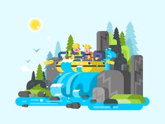 Water river slalom rafting - stock illustration