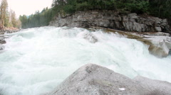 Eagle Falls Washington with Raging White Water of Skykomish River - stock footage