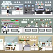 Scientist working in laboratory vector illustration. Science lab interior Piirros