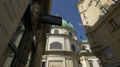 St. Peter Church seen from Goldschmiedgasse in Vienna Stock Footage