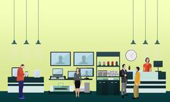 People shopping in a mall. Poster concept. Consumer electronics store Interior - stock illustration