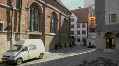 Old street in Riga, Latvia Stock Footage