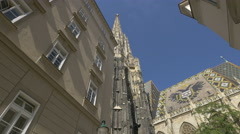 Stephansdom seen from Churhausgasse in Vienna Stock Footage
