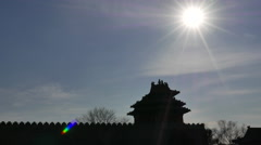 Silhouette:gate tower in sunlight Stock Footage