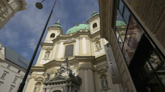 St. Peter's Church seen from Jungferngasse in Vienna Stock Footage
