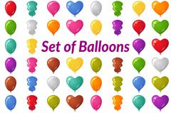 Holiday Balloons Set - stock illustration