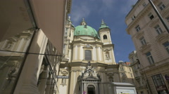 St. Peter's Church (Peterskirche) seen from Jungferngasse, Vienna Stock Footage