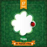 St Patricks Day Vintage Shamrock Ladybird - stock illustration