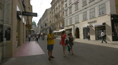 Walking on Kohlmarkt street, in the first district of Vienna Stock Footage
