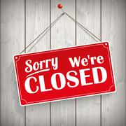Sign Wooden Background Closed Stock Illustration