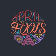 April Fools Day  Lettering - stock illustration