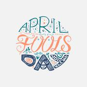 April Fools Day  Lettering Stock Illustration