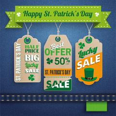 Stock Illustration of Jeans St. Patrick's Day 3 Carton Price Stickers Ribbon