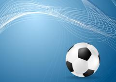 Abstract blue wavy soccer background with ball Stock Illustration
