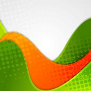 Abstract grunge green orange wavy background Stock Illustration