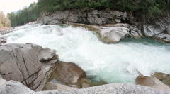 Wide Shot of Raging Skykomish River at Eagles Falls Stock Footage