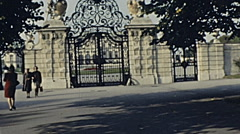 Vienna 1966: people walking outside the Belvedere Stock Footage