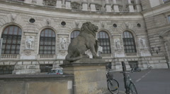 Lion sculpture in front of the Neue Burg in Vienna Stock Footage