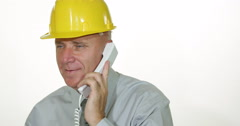 Pan View Engineer Smilling Attitude Phone Talking Production Process Details Stock Footage