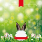 Easter Eggs Grass Emblem Bunny Ears Stock Illustration