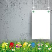 Stock Illustration of Colored Easter Eggs Grass 2 White Boards Concrete