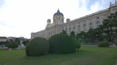 Relaxing in Maria-Theresien-Platz, near the Natural History Museum, Vienna Stock Footage