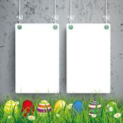 Colored Easter Eggs Grass 2 White Boards Concrete - stock illustration