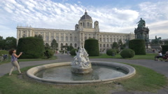 Beautiful statues in Maria-Theresien-Platz, near the Art History Museum, Vienna Stock Footage