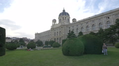 Relaxing in front of the Natural History Museum, Vienna Stock Footage