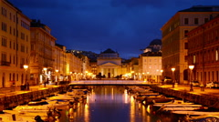 Trieste Grand Canal at night - stock footage