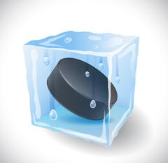 Ice cube with hockey puck. - stock illustration