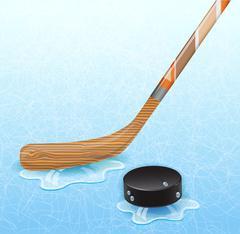 Hockey stick and hockey puck. Stock Illustration