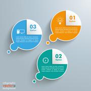 3 Thought Bubbles Corner Infographic - stock illustration