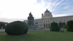 Maria Theresa Monument and Natural History Museum in Vienna Stock Footage