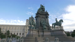 Great view of Maria Theresa Monument in Vienna Stock Footage