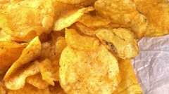 Portion of Potato Chips (not loopable) Stock Footage