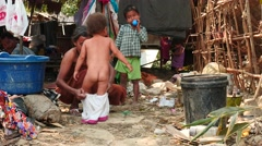 Children with mother - 2016 Myanmar village Stock Footage