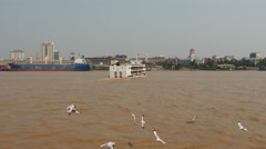 Yangon port - view from floating ferry Stock Footage