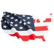 Flag blowing in the wind. Part of border alike shaped ruffled flag series - U Stock Illustration