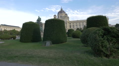 Maria-Theresien-Platz and the Art History Museum in Vienna Stock Footage