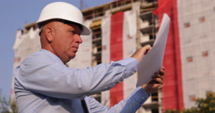 Engineer Man Verify Architectural Building Blueprint Check Technical Paper Plans Stock Footage