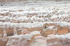 Terra cotta warriors excavationin Xian, China Stock Photos